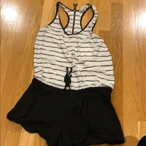 Loft size xs black and white romper